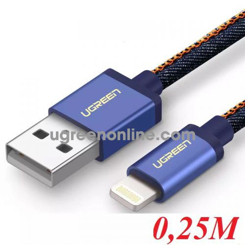 Ugreen 40482 0.25M USB 2.0 to Lightning cable cáp with Braid US199