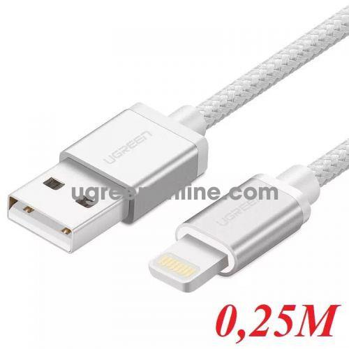 Ugreen 40692 0.25M MFI Lightning to USB cable cáp Aluminum Case + Braid US199 10040692