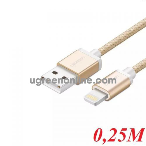 Ugreen 40694 0.25M MFI Lightning to USB cable cáp Aluminum Case + Braid US199 10040694