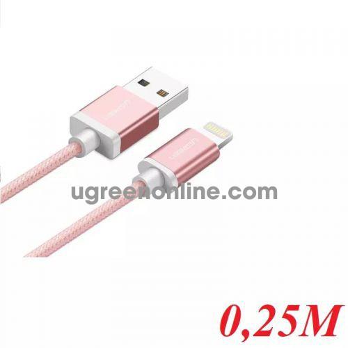 Ugreen 40696 0.25M MFI Lightning to USB cable cáp Aluminum Case + Braid US199 10040696