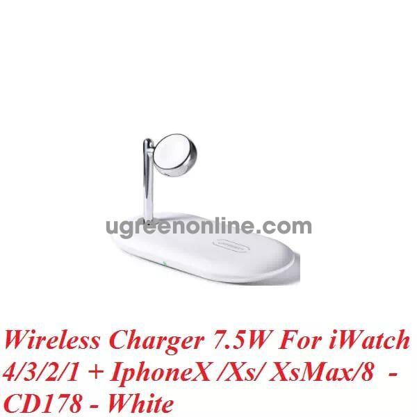 Ugreen 50535 7.5W Iwatch Iphone Multifunctional Wireless Charger White Cd178