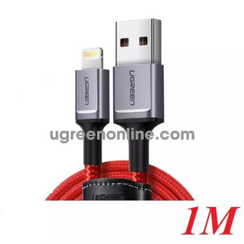 Ugreen 60185 1M Cáp Apple Mfi Cable Hỗ Trợ Dòng Sạc Nhanh Fast Charge Iphone Xsmax/8/7/6 Ipad Màu Đỏ Us293