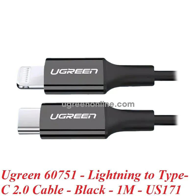 Ugreen 60751 1M Lightning to Type-C 2.0 Cable Black US171