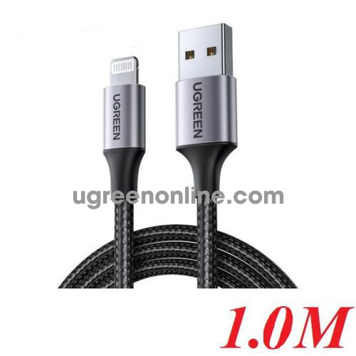 Ugreen 60156 1M Black Usb 2.0 A To Lightning Cable Nickel Plating Aluminum Braid US291 10060156