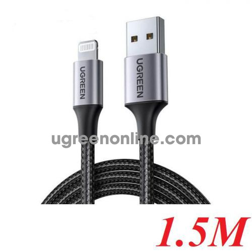 Ugreen 60157 1.5M Black Usb 2.0 A To Lightning Cable Nickel Plating Aluminum Braid US291 10060157