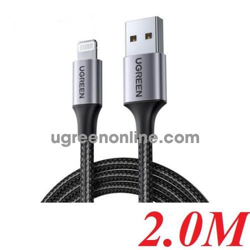 Ugreen 60158 2M Black Usb 2.0 A To Lightning Cable Nickel Plating Aluminum Braid US291 10060158