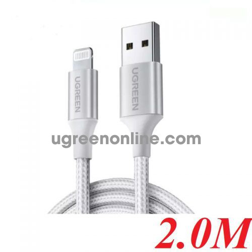 Ugreen 60163 2M White Usb 2.0 A To Lightning Cable Nickel Plating Aluminum Braid US291 10060163