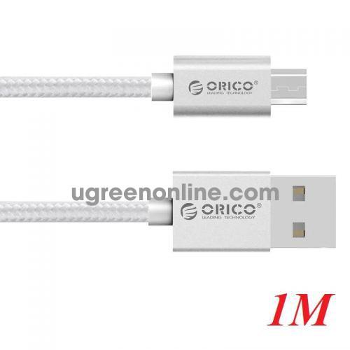 Orico EDC-10-SV Cáp sạc 1m micro dây dù đầu nhôm điện thoại Android USB 2.0 màu bạc - 97696 10097696