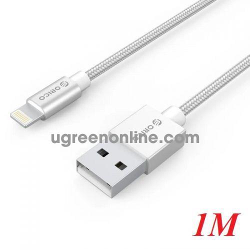 Orico IDC-10-SV Cáp sạc 1m chip apple MFI dây dù Iphone Lightning USB 2.0 màu bạc - 97105 10097105