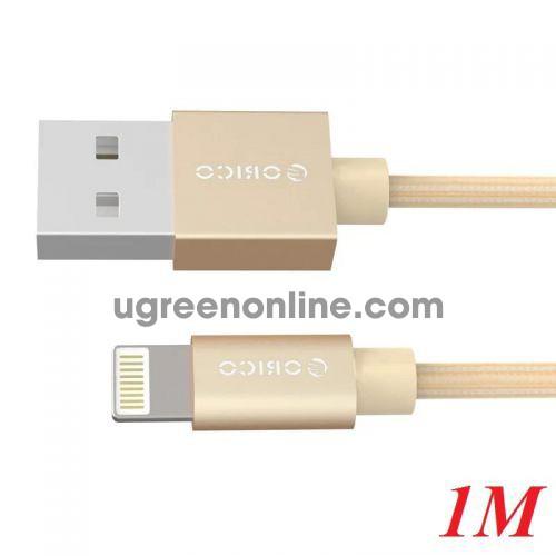 Orico LTF-10-GD Cáp sạc 1m dây dù Iphone Lightning USB 2.0 - 98912 10098912