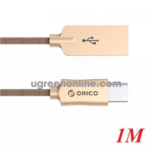 Orico Hcu-10-Gd Cáp Sạc Điện Thoại Typec Dây Dù Vàng 1M - Type C To Usb 1M Cable ) Gold - 97580