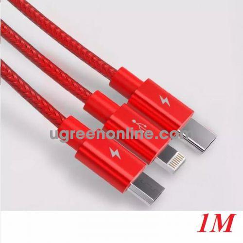 Orico Uts-12-Rd Cáp Sạc Điện Thoại 3 Đầu Lightning Micro B Type C Dây Dù Đỏ 1.2M - 98176 10098176