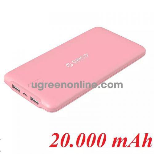 Orico Ld200-Pk Pin Sạc Dự Phòng 20 000Mah Hồng - 2 Cổng Usb 5V2.4A - 98788