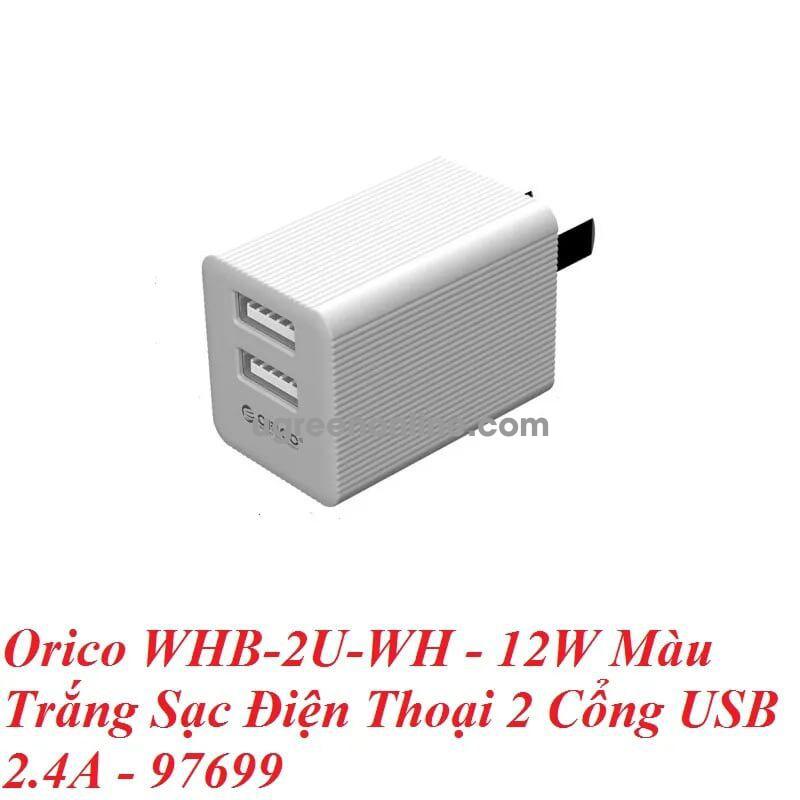 Orico Whb-2U-Wh Sạc Điện Thoại 2 Cổng Usb 12W Trắng 97699