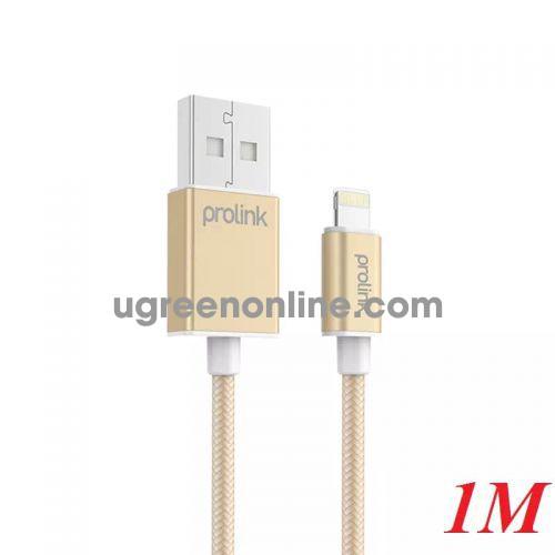 Prolink PLT341 Cáp 1M Chíp Chuẩn Mfi Sạc Và Truyền Dữ Liệu Iphone Ipad (Lightning) Ra Usb 2.0 Màu Vàng - 95233 10095233