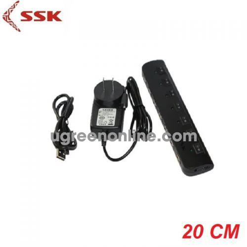 SSK SHU-023 Màu Đen Hub chia 7 cổng USB 2.0 có nguồn 97682 10097682