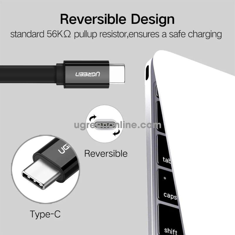 Ugreen 10699 Usb 3.0 To Usb C Flat Cable Black 2M Us172