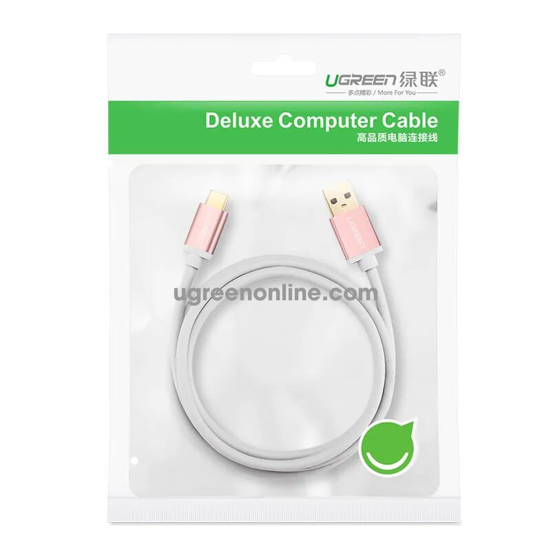 Ugreen 30537 Usb 3.0 To Usb C Cable Rose Gold 0.5M Us187