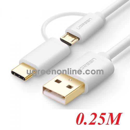 Ugreen 30169 Usb 2.0 To Micro Usb + Type C Data Cable White 0.25M Us142