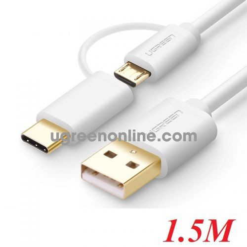 Ugreen 30380 Usb 2.0 To Micro Usb + Type C Data Cable White 1.5M Us142