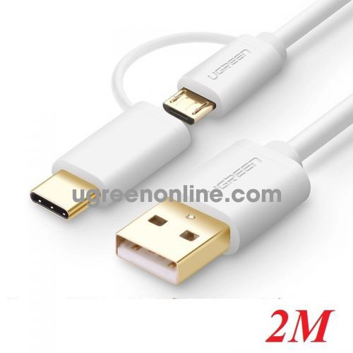 Ugreen 30381 Usb 2.0 To Micro Usb + Type C Data Cable White 2M Us142