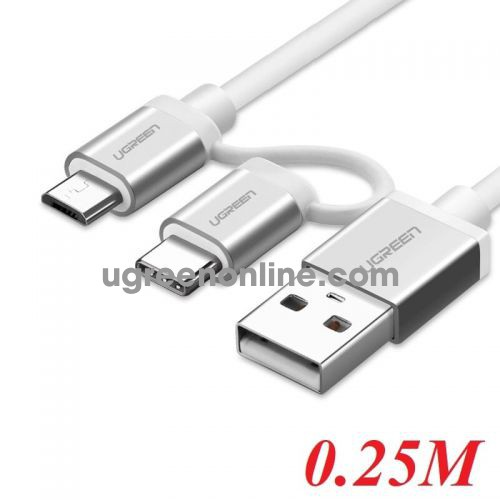 Ugreen 20870 Micro Usb Cable With Usb C Adapter Silver 0.25M Us177