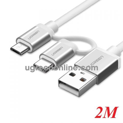 Ugreen 20874 Micro Usb Cable With Usb C Adapter Silver 2M Us177