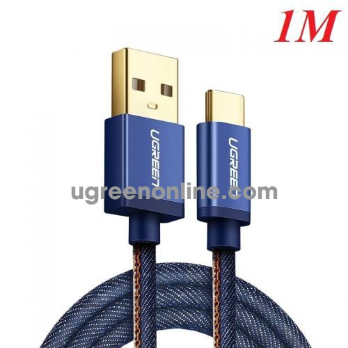 Ugreen 40344 Usb 2.0 To Tyec C Data & Charging Cable With Braid Blue 1M Us250