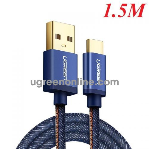 Ugreen 40345 Usb 2.0 To Tyec C Data & Charging Cable With Braid Blue 1.5M Us250
