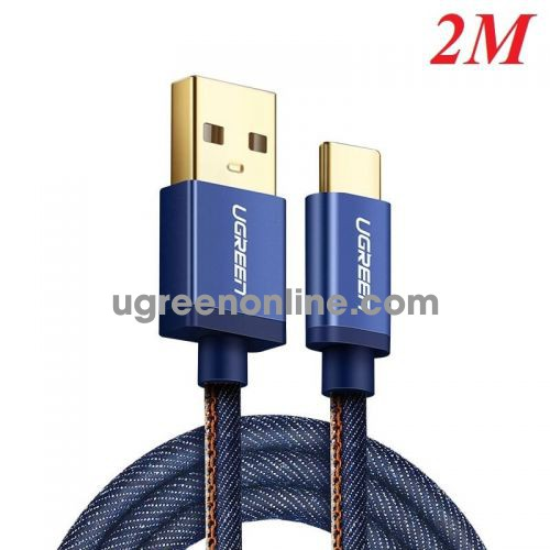 Ugreen 40346 Usb 2.0 To Tyec C Data & Charging Cable With Braid Blue 2M Us250