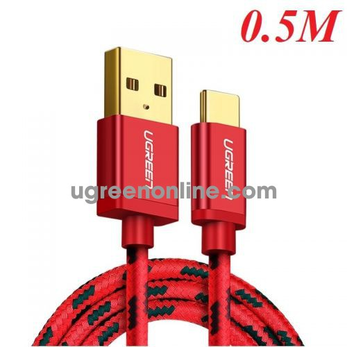Ugreen 40483 Usb 2.0 To Tyec C Data & Charging Cable With Braid Red 0.5M Us250