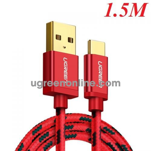 Ugreen 40485 Usb 2.0 To Tyec C Data & Charging Cable With Braid Red 1.5M Us250
