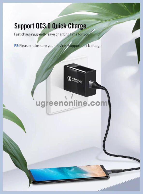 Ugreen 60204 0.5M Cáp Dữ Liệu Sạc Nhanh Usb-C 3A Cable Cho Samsung Galaxy S10 S9 S8 Plus Note9 Xiaomi Mi8 Gray Ed022