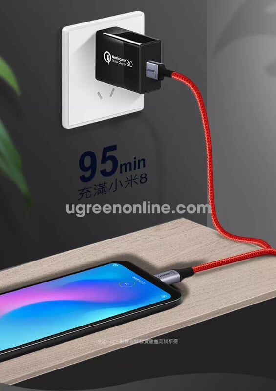 Ugreen 60184 1M Cáp Dữ Liệu Sạc Nhanh Usb Type-C Cable With Braid Red Us292