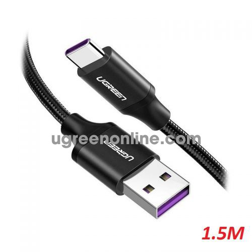 Ugreen 60729 1.5m 5V 5A Aluminum Shell Black USB-A Male to Type C Male Cable Nickel Plating with Braided US279 10060729