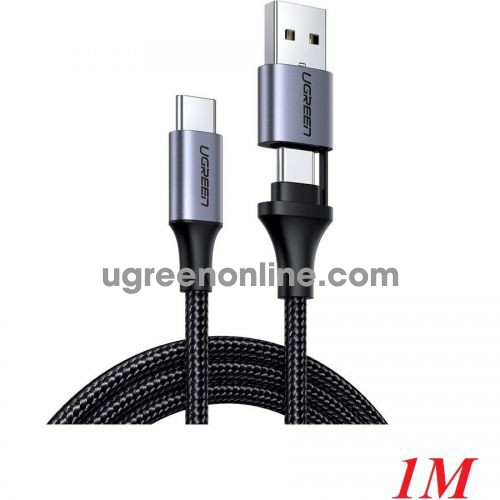 Ugreen 70416 1m qc3.0 cable USB Type C to USB Type C + USB A Quick charger black US314 10070416