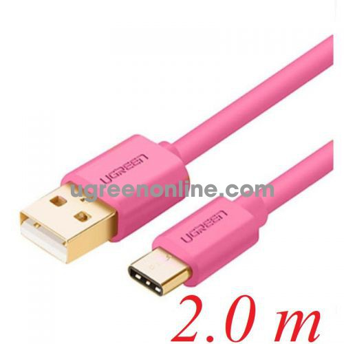Ugreen 10675 2M pink color USB A to USB type C Gold-Plated Cable US141 10010675