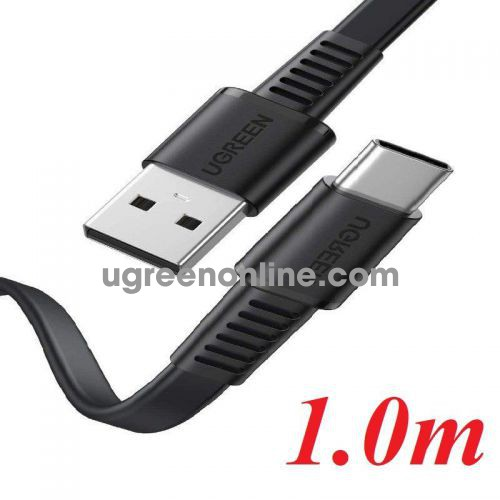 Ugreen 10972 1M Flat cable black USB A 2.0 to USB type C M-M US332 10010972