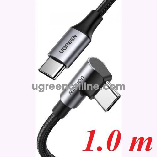 Ugreen 70643 1M 90 degree black USB type C 2.0 to Angled USB type C M-M Cable Aluminium Shell with Braided US334 10070643