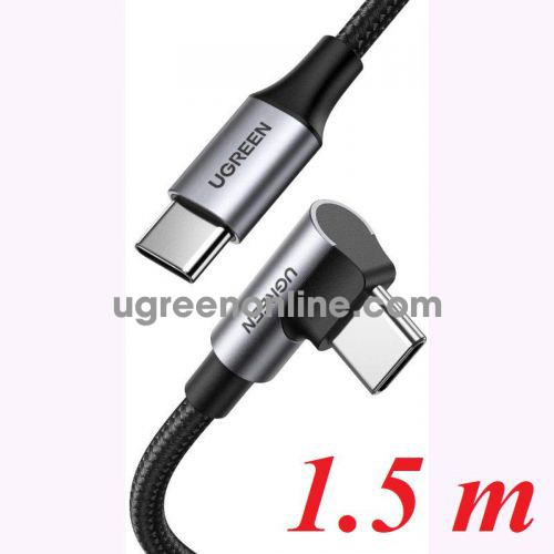 Ugreen 70644 1.5M 90 degree black USB type C 2.0 to Angled USB type C M-M Cable Aluminium Shell with Braided US334 10070644