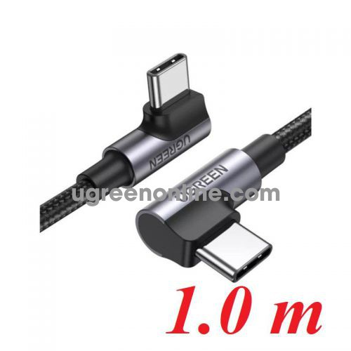 Ugreen 70696 1M both 90 degree head x 2 black Angled USB type C M-M Cable Aluminium Shell with Braided US335 10070696