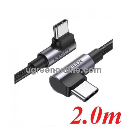 Ugreen 70698 2M both 90 degree head x 2 black Angled USB type C M-M Cable Aluminium Shell with Braided US335 10070698