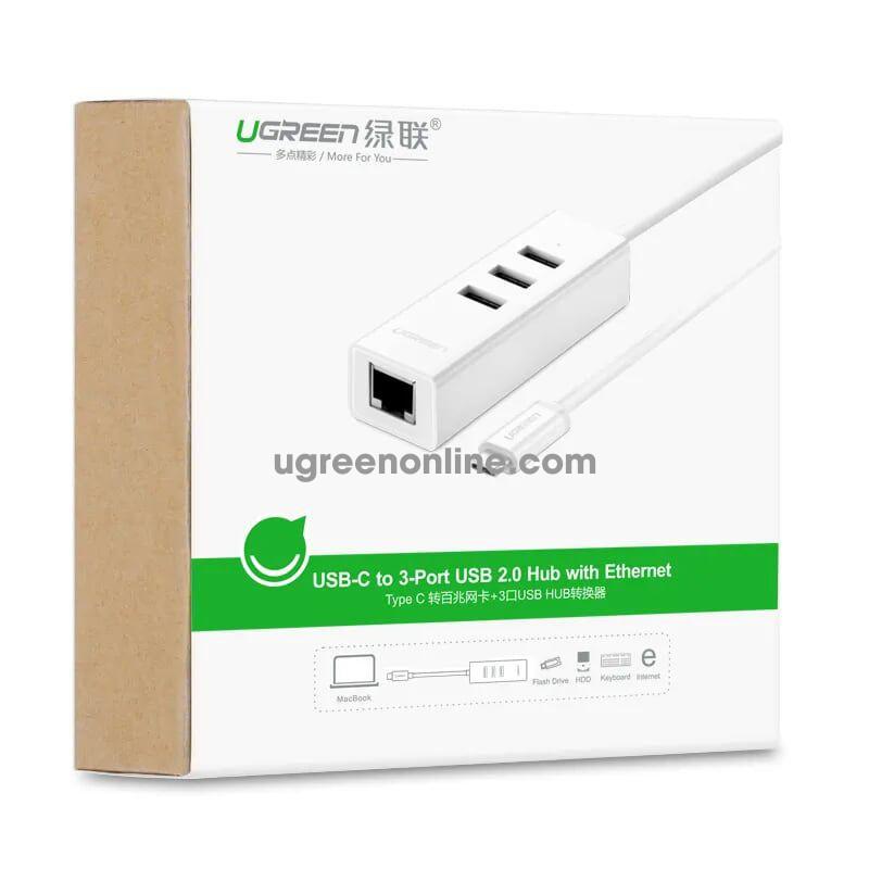 Ugreen 20792 usb type c to ethernet + usb hub trắng abs 20792