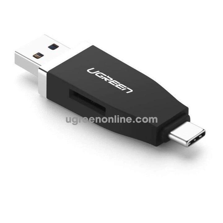Ugreen 30359 2 in 1 usb 3.0 & usb type c card reader đen 30359