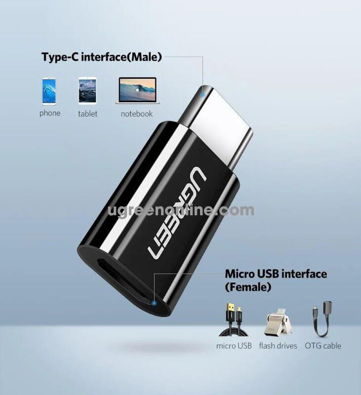Ugreen 30391 usb 3.1 type c to micro usb adapter đen us157