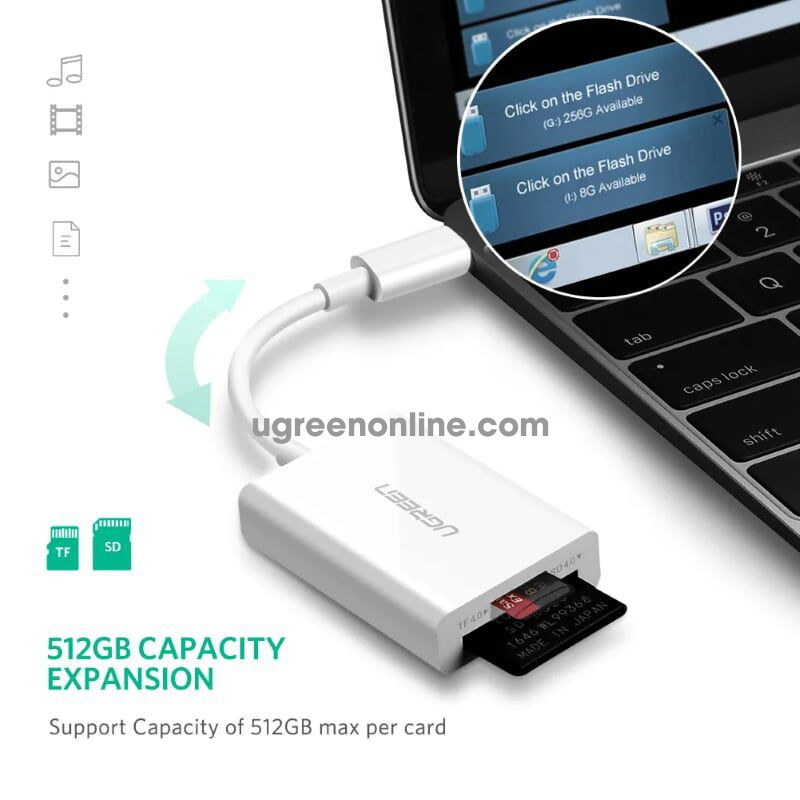 Ugreen 40380 type c to sd tf card reader 3.0 trắng us235