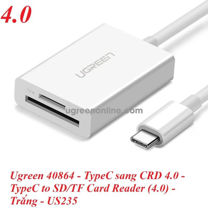 Ugreen 40864 type c to sd tf card reader 4.0 trắng us235