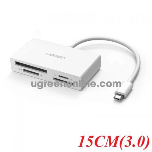 Ugreen 40444 15CM type c to card reader tf sd cf ms 3.0 trắng cm102