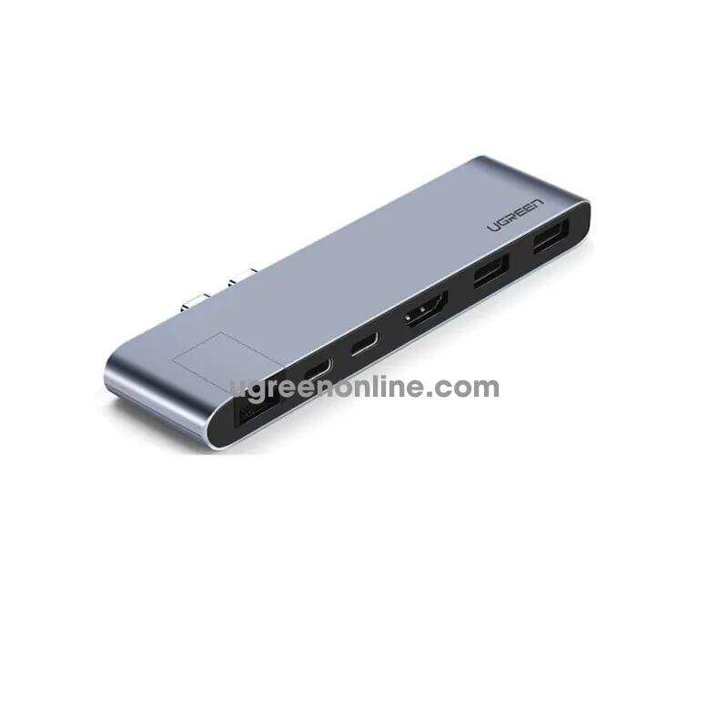 Ugreen 50984 usb c to 2*usb 3.0 + 2*usb c female + hdmi + gigabit converter cm218 gray