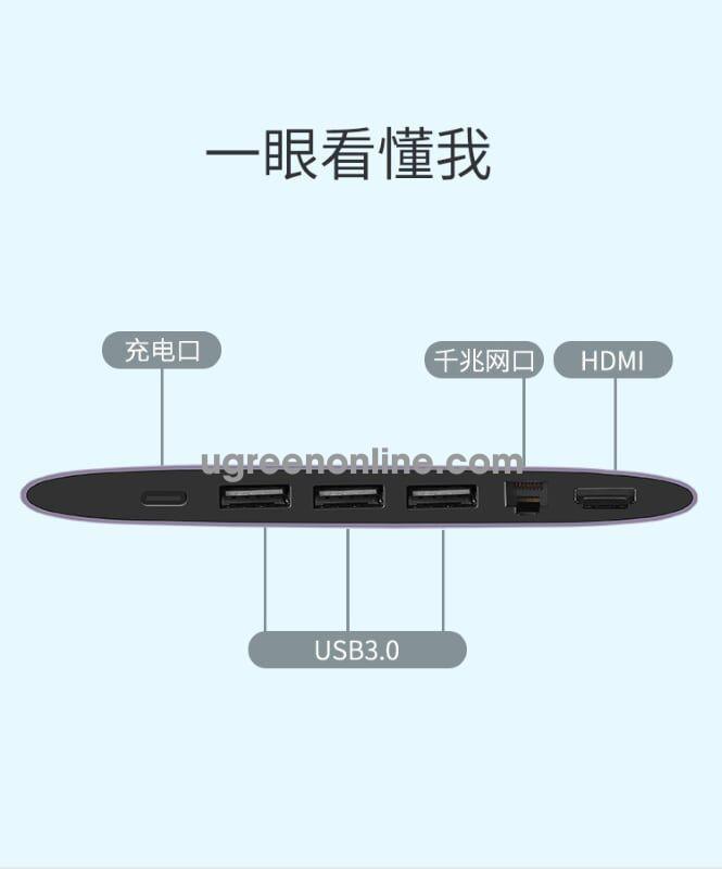 Ugreen 50989 usb c to 3*usb 3.0 + hdmi + gigabit + pd 6 in 1 converter cm222